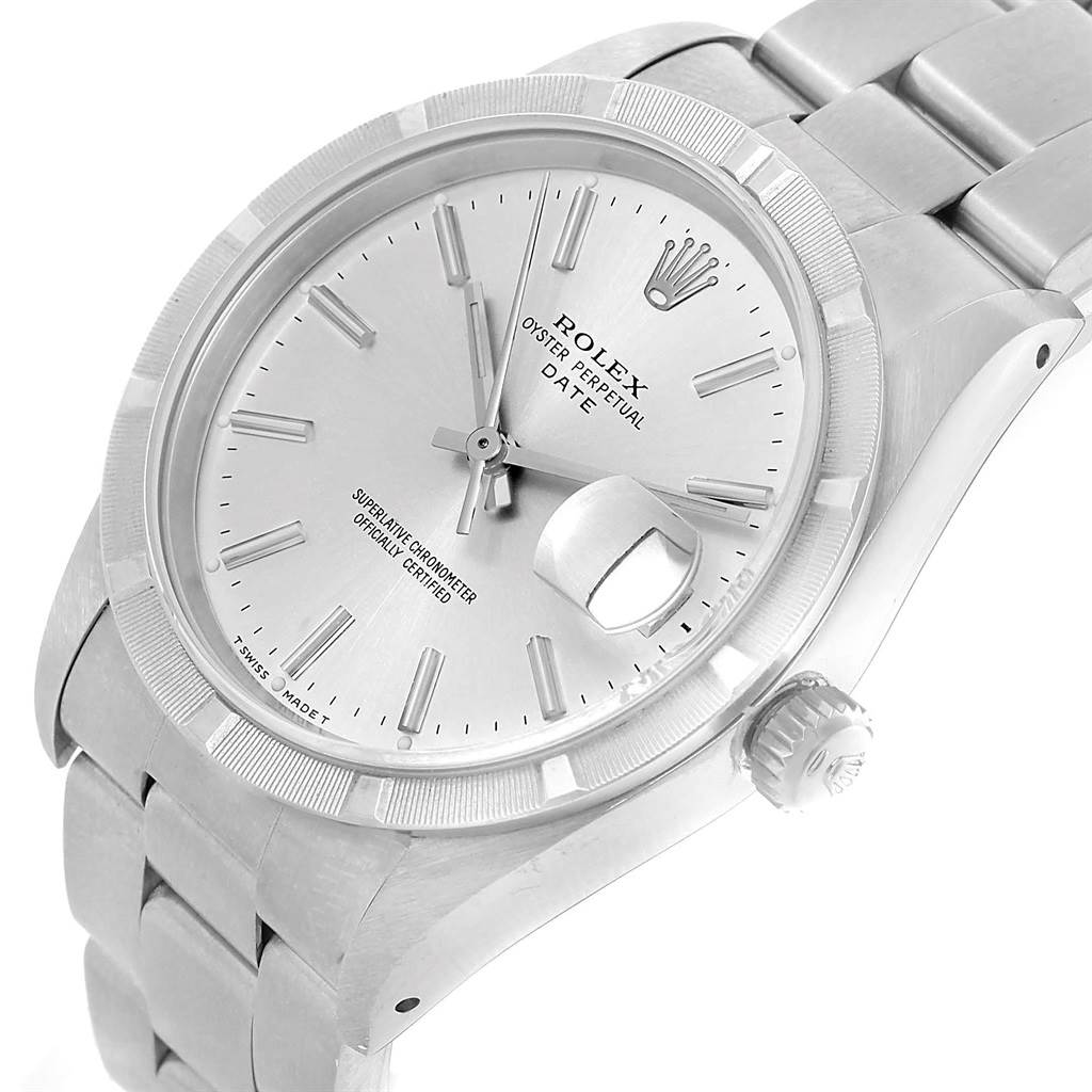 Rolex Date Silver Baton Dial Stainless Steel Mens Watch 15210 SwissWatchExpo