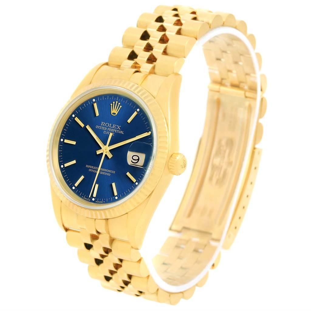 Rolex Date 18k Yellow Gold Jubilee Bracelet Mens Watch 15238 SwissWatchExpo