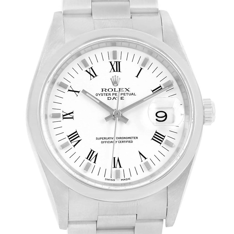 Rolex Date White Dial Domed Bezel Steel Automatic Mens Watch 15200 SwissWatchExpo