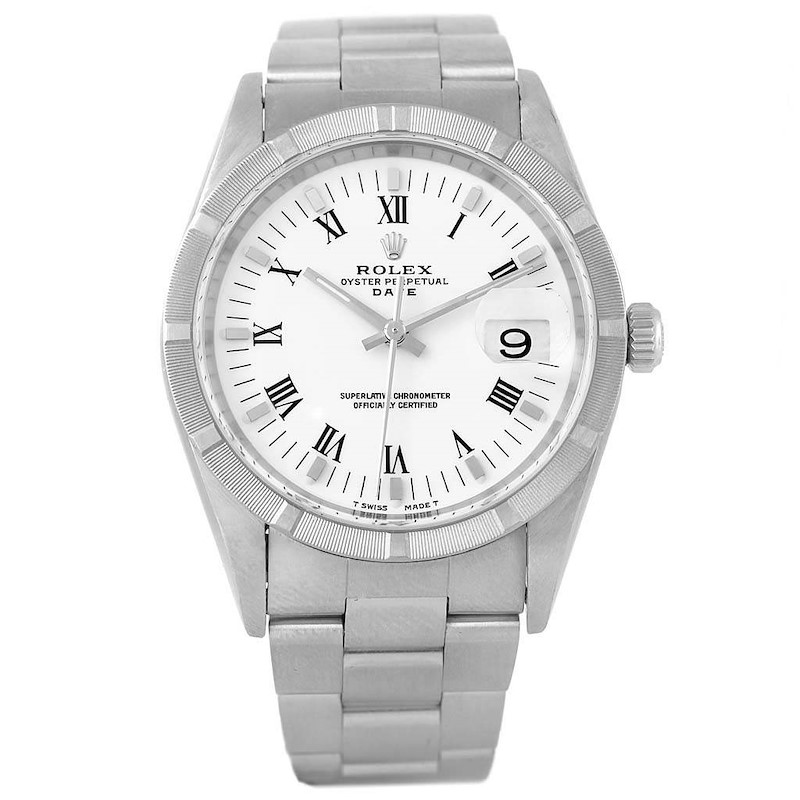 Rolex Date White Dial Stainless Steel Mens Watch 15210 SwissWatchExpo