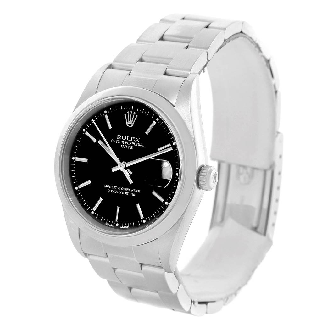 14576 Rolex Date Black Dial Oyster Bracelt Steel Mens Watch 15200 SwissWatchExpo