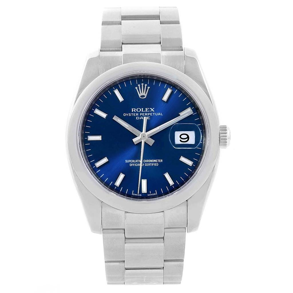 Rolex Date Stainless Steel Blue Baton Dial Mens Watch 115200 SwissWatchExpo
