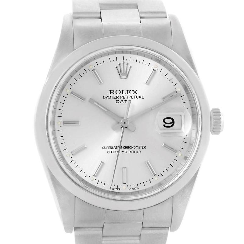 Rolex Date Silver Baton Dial Steel Mens Watch 15200 SwissWatchExpo