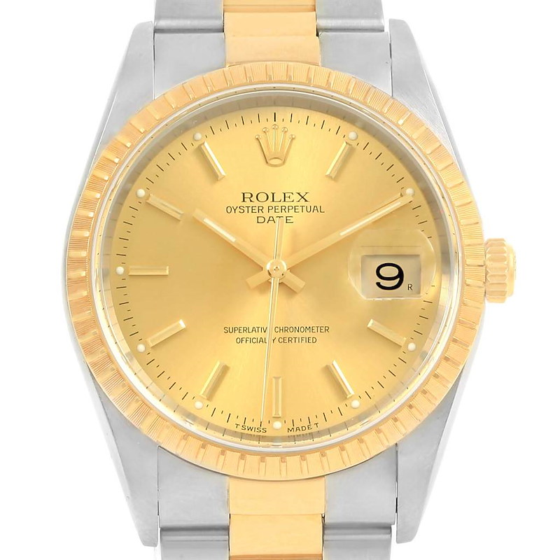 Rolex Date Steel Yellow Gold Oyster Bracelet Mens Watch 15223 Box Papers SwissWatchExpo