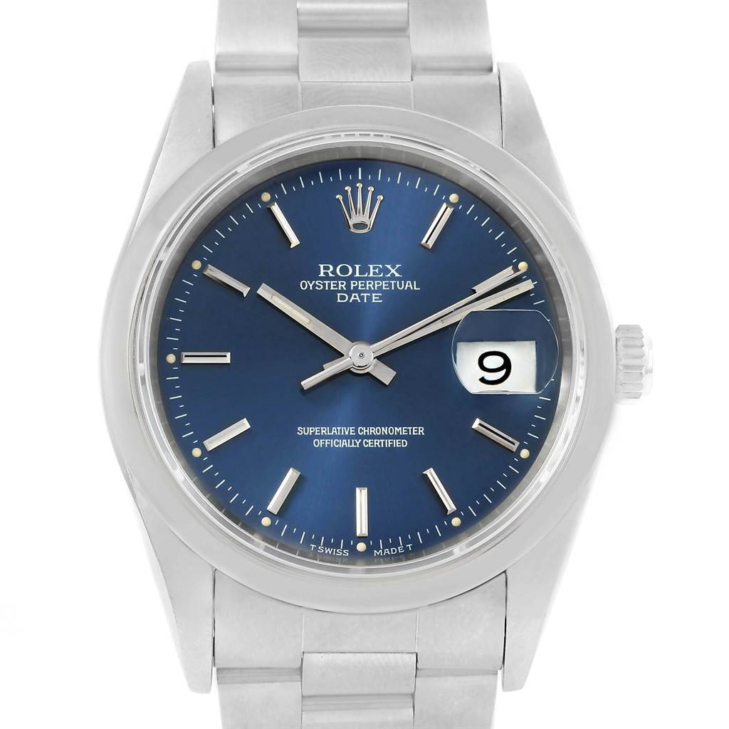 Rolex Date Blue Baton Dial Steel Mens Watch 15200 Box Papers SwissWatchExpo