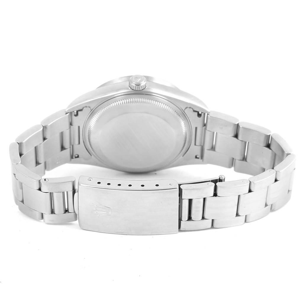 Rolex Date Black Baton Dial Stainless Steel Mens Watch 15210 SwissWatchExpo