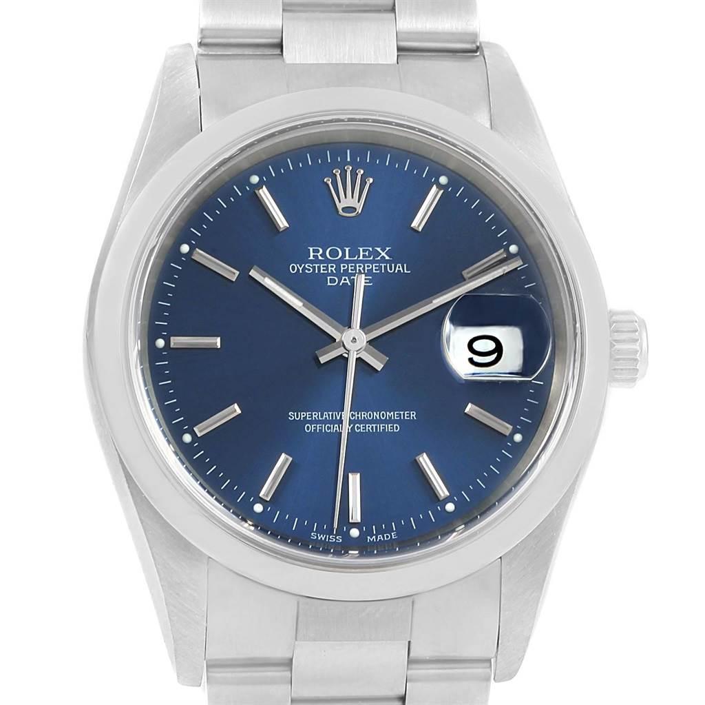 Rolex Date Blue Baton Dial Oyster Bracelet Steel Mens Watch 15200 SwissWatchExpo
