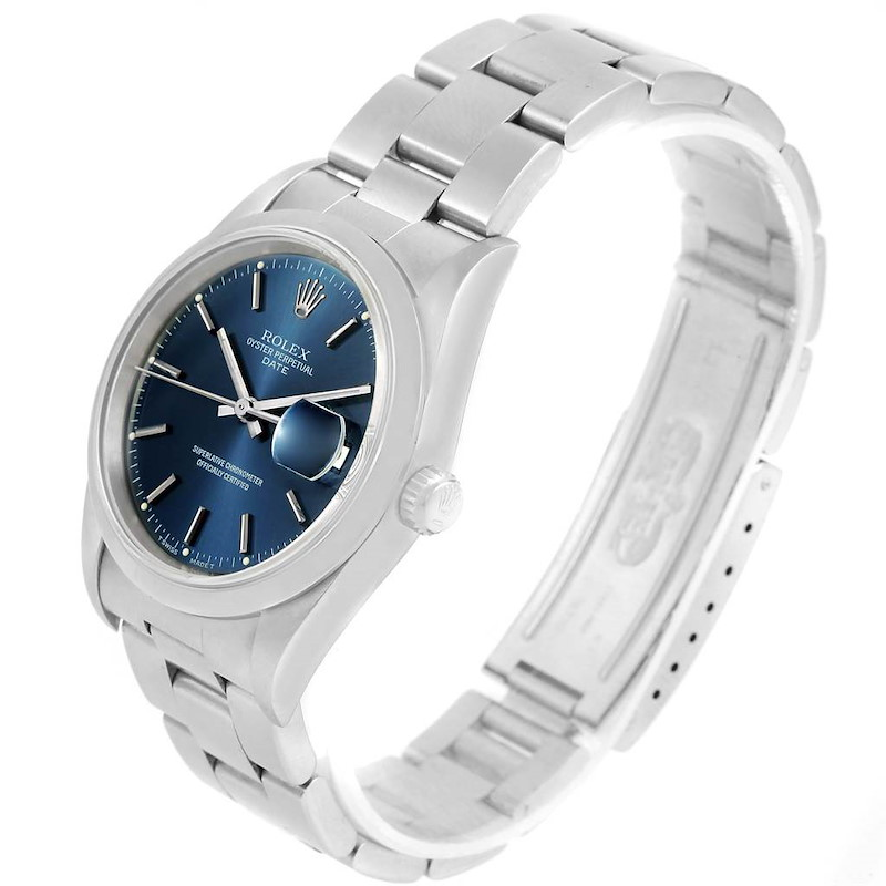 Rolex Date Blue Dial Oyster Bracelet Stainless Steel Mens Watch 15200 SwissWatchExpo