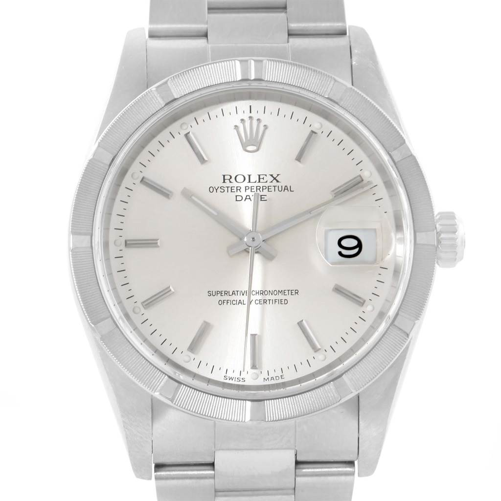Rolex Date Silver Baton Dial Stainless Steel Mens Watch 15210 Box Papers SwissWatchExpo