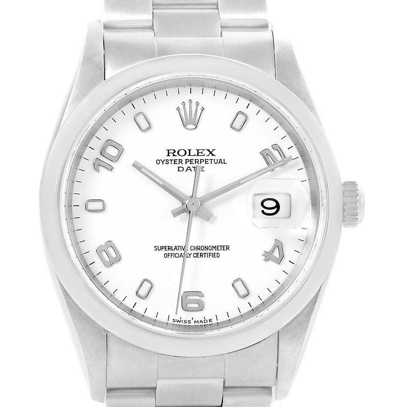 Rolex Date White Arabic Dial Oyster Bracelet Steel Mens Watch 15200 SwissWatchExpo