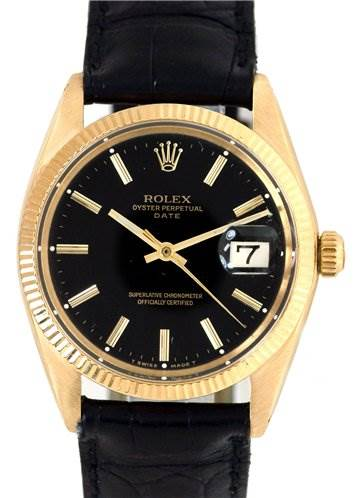 Rolex Vintage Mens 14k Oyster Perpetual Date 1503 Rare SwissWatchExpo