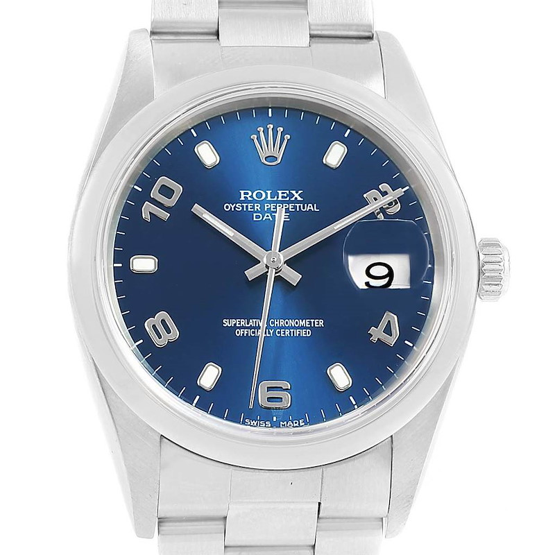 Rolex Date Blue Arabic Dial Steel Mens Watch 15200 Box Papers SwissWatchExpo