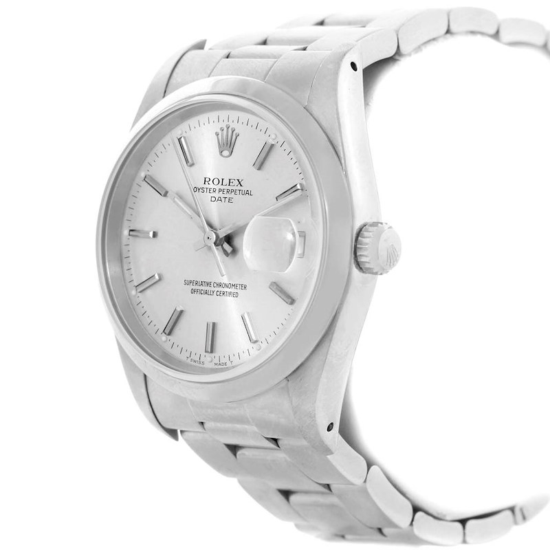 Rolex Date Silver Dial Oyster Bracelet Steel Mens Watch 15200 Box Papers SwissWatchExpo