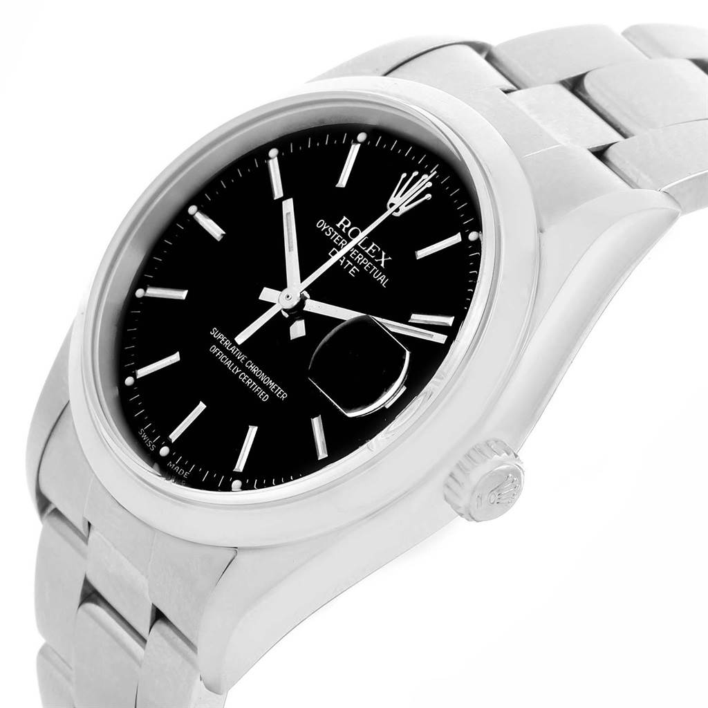 Rolex Date Black Dial Oyster Bracelet Stainless Steel Mens Watch 15200 SwissWatchExpo