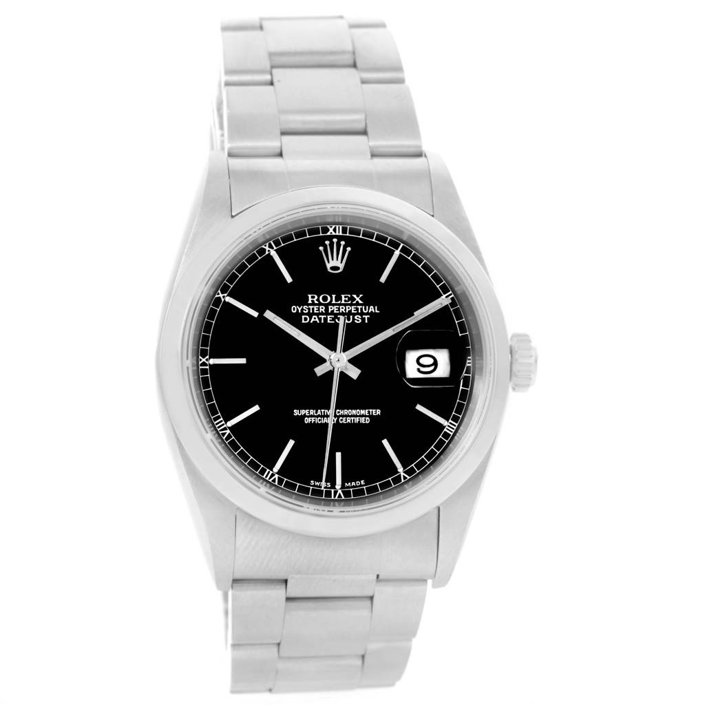 Rolex Datejust Black Baton Dial Automatic Mens Watch 16200 Box Papers SwissWatchExpo