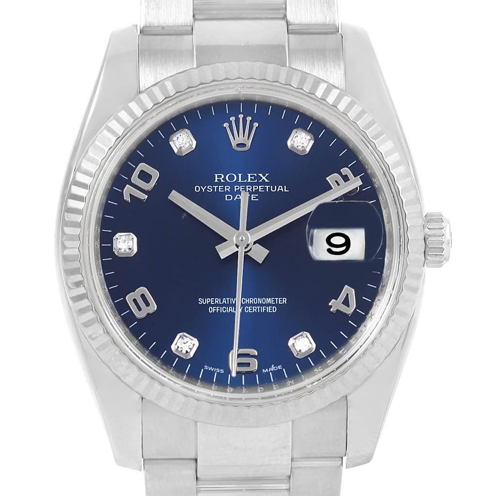Rolex Date 34 Steel White Gold Diamond Unisex Watch 115234 Box Card SwissWatchExpo