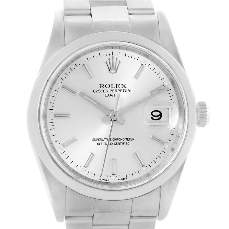 Rolex Date Silver Dial Oyster Bracelet Steel Mens Watch 15200 SwissWatchExpo