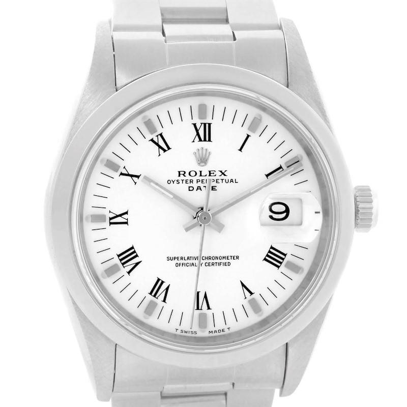 Rolex Date White Roman Dial Oyster Bracelet Steel Mens Watch 15200 SwissWatchExpo