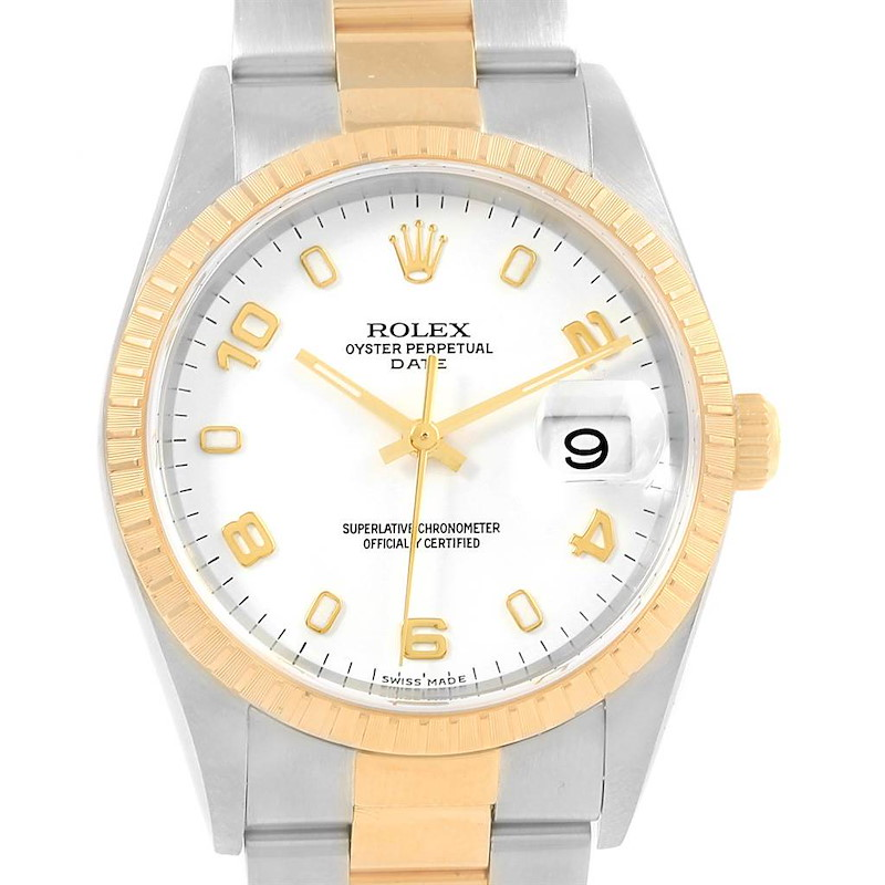 Rolex Date Steel Yellow Gold White Dial Mens Watch 15223 Box Papers SwissWatchExpo