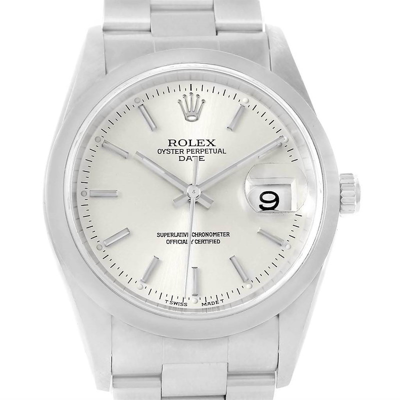 Rolex Date Silver Dial Domed Bezel Steel Mens Watch 15200 SwissWatchExpo