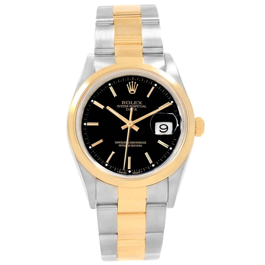 18332 Rolex Date Steel Yellow Gold Black Dial Mens Watch 15203 SwissWatchExpo