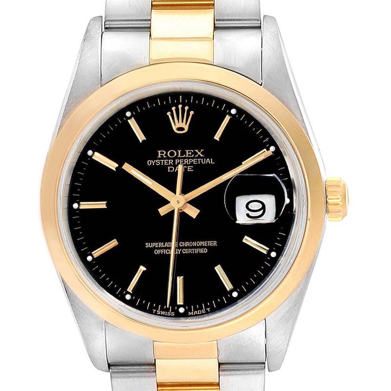 Rolex Date Steel Yellow Gold Black Dial Mens Watch 15203 SwissWatchExpo