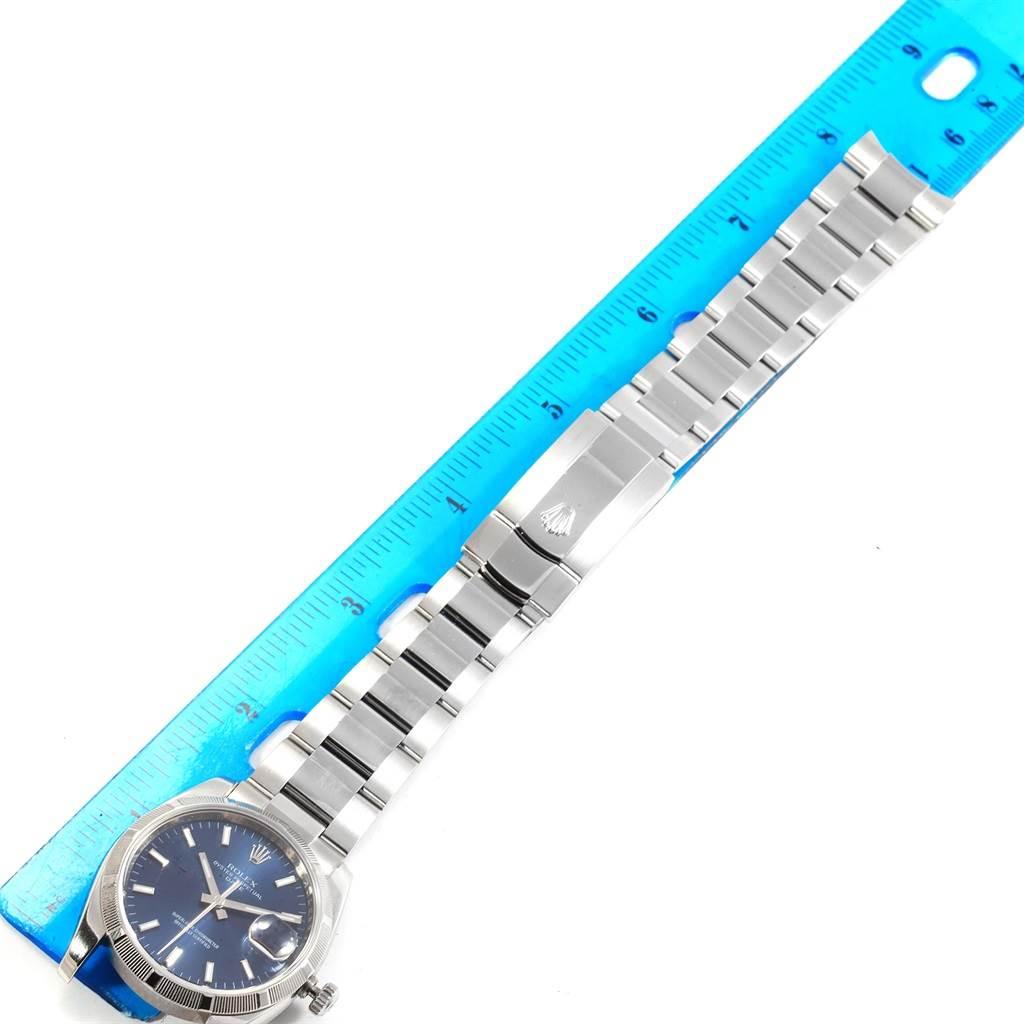 Rolex Date Steel Blue Dial Oyster Bracelet Automatic Mens Watch 115210 SwissWatchExpo