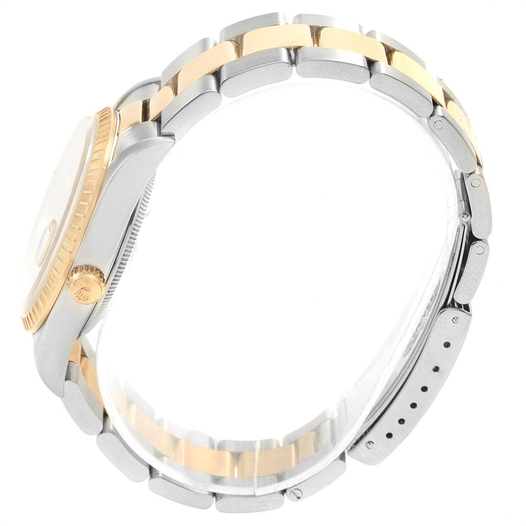 18240 Rolex Date Mens Steel 18k Yellow Gold Baton Dial Mens Watch 15223 SwissWatchExpo