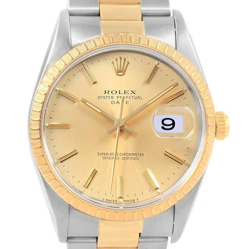 Photo of Rolex Date Mens Steel 18k Yellow Gold Baton Dial Mens Watch 15223