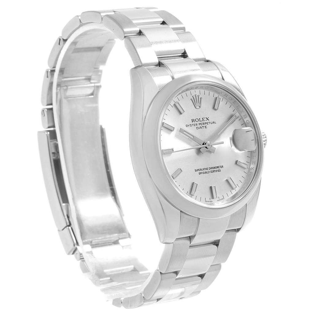 Rolex Date Stainless Steel Silver Baton Dial Mens Watch 115200 SwissWatchExpo