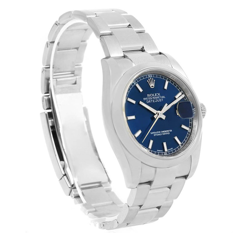 Rolex Datejust Steel Blue Baton Dial Mens Watch 116200 Box SwissWatchExpo