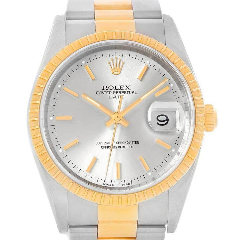 Rolex Date Steel Yellow Gold Silver Dial Mens Watch 15223 Box Papers SwissWatchExpo