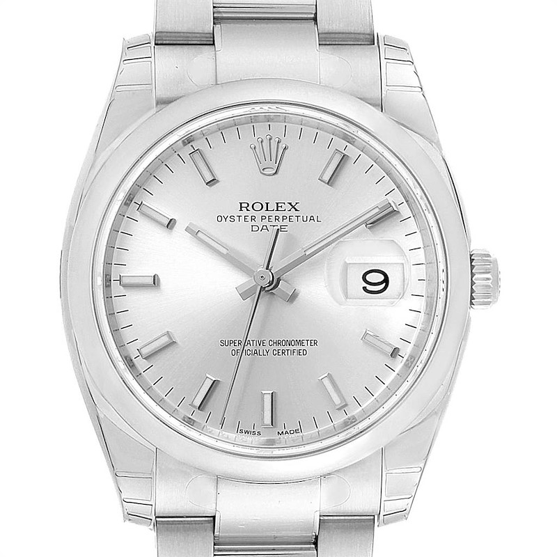 Rolex Date 34mm Silver Dial Steel Mens Watch 115200 Unworn SwissWatchExpo