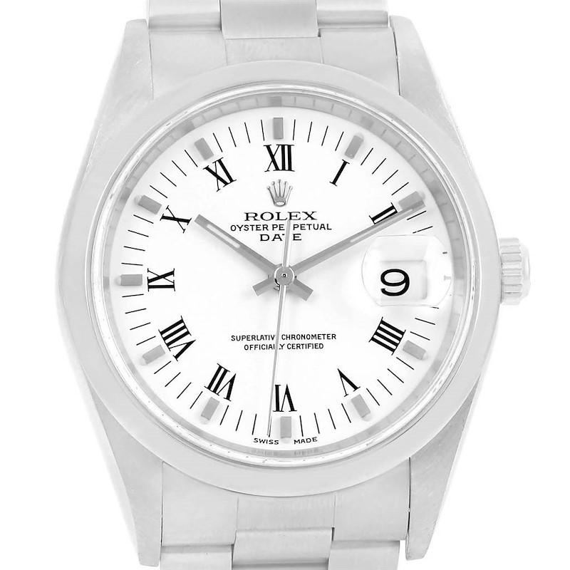 Rolex Date White Dial Oyster Bracelet Steel Mens Watch 15200 SwissWatchExpo