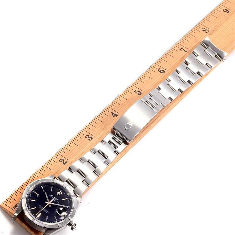 Rolex Date Black Dial Steel Mens Watch 15210 Box Papers SwissWatchExpo
