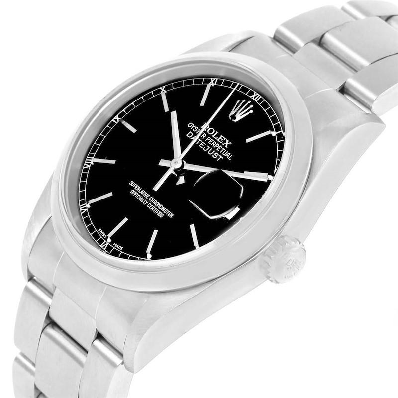 Rolex Datejust Black Dial Oyster Bracelet Steel Mens Watch 16200 SwissWatchExpo