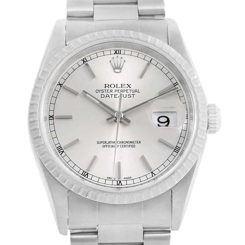 Rolex DateJust 36 Silver Dial Automatic Steel Mens Watch 16220 SwissWatchExpo
