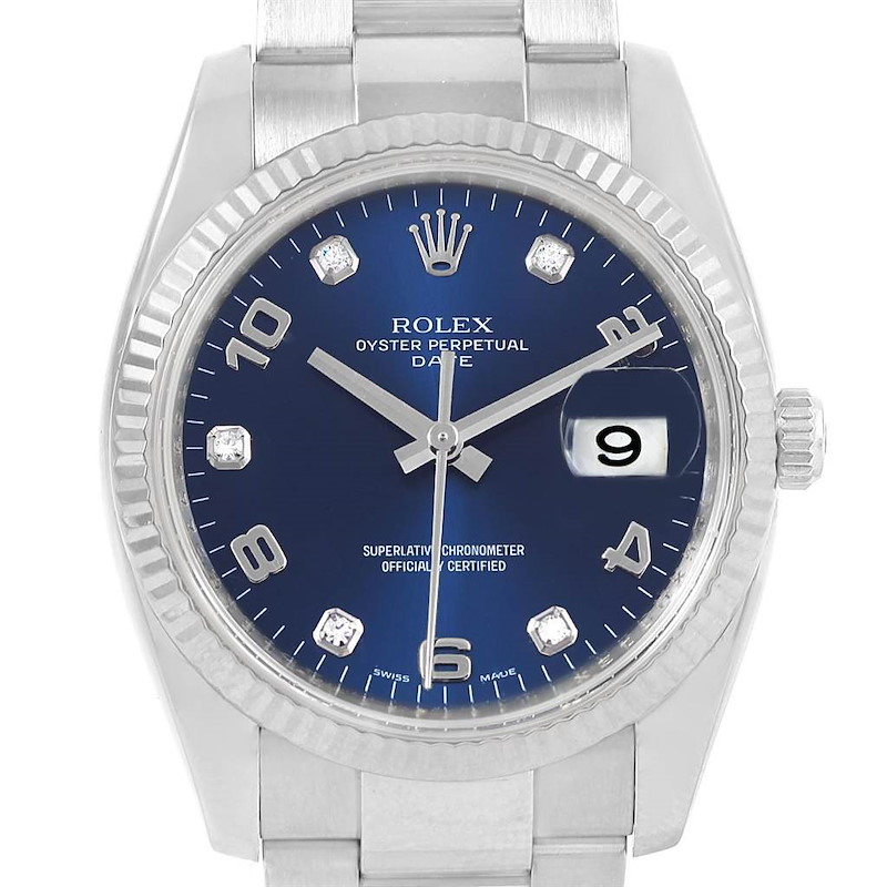 Rolex Date 34 Steel White Gold Blue Diamond Dial Mens Watch 115234 SwissWatchExpo
