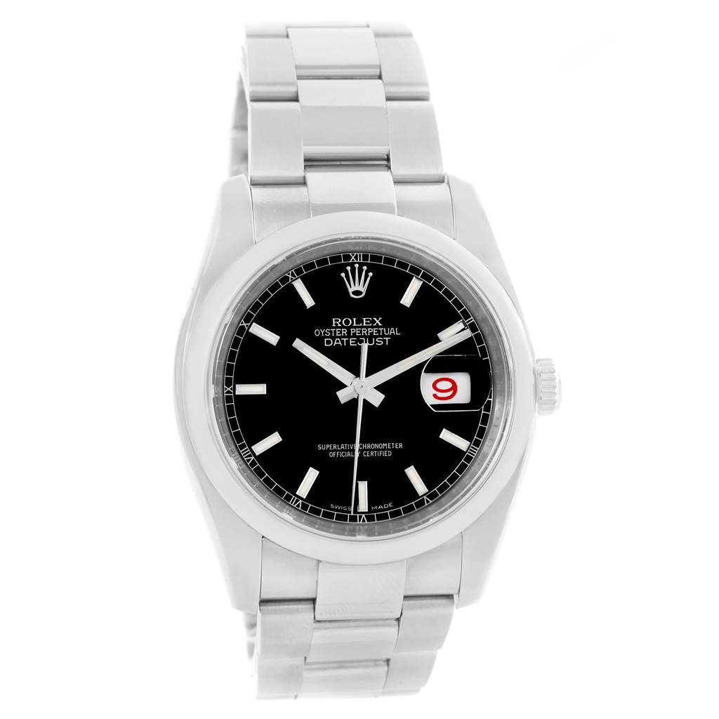 Rolex Datejust 36 Black Baton Dial Steel Mens Watch 116200 Box Card SwissWatchExpo