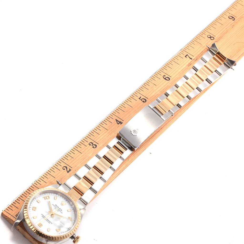 19133 Rolex Date Yellow Gold Steel White Dial Oyster Bracelet Watch 15223 SwissWatchExpo