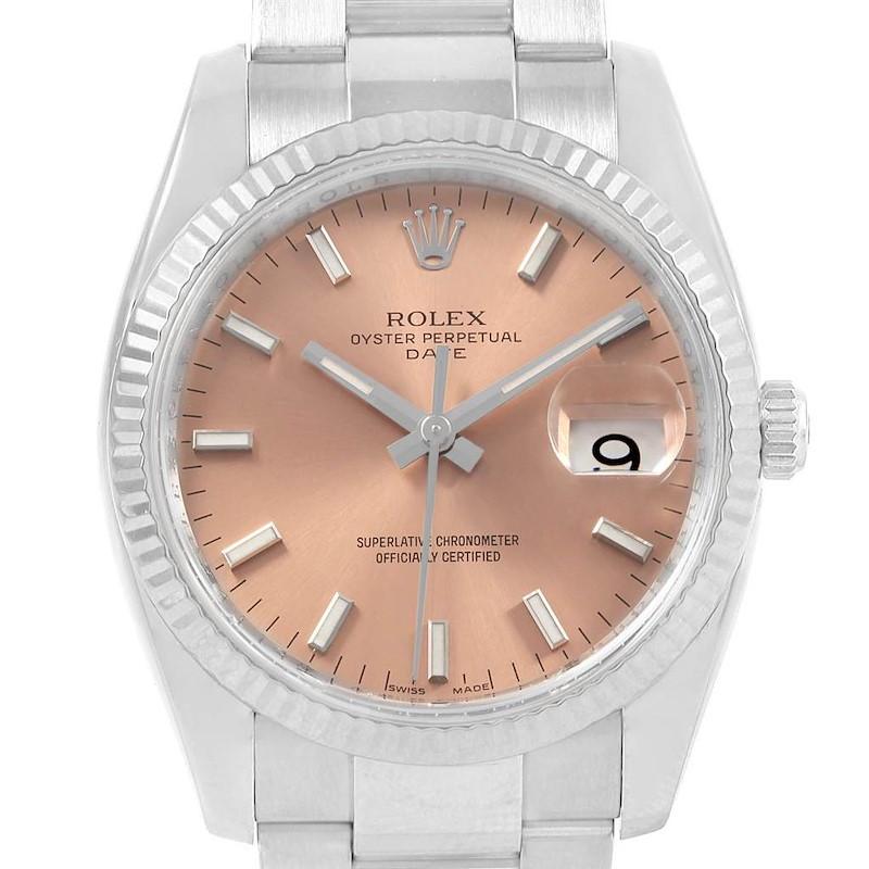 Rolex Date 34 Steel White Gold Salmon Dial Mens Watch 115234 SwissWatchExpo