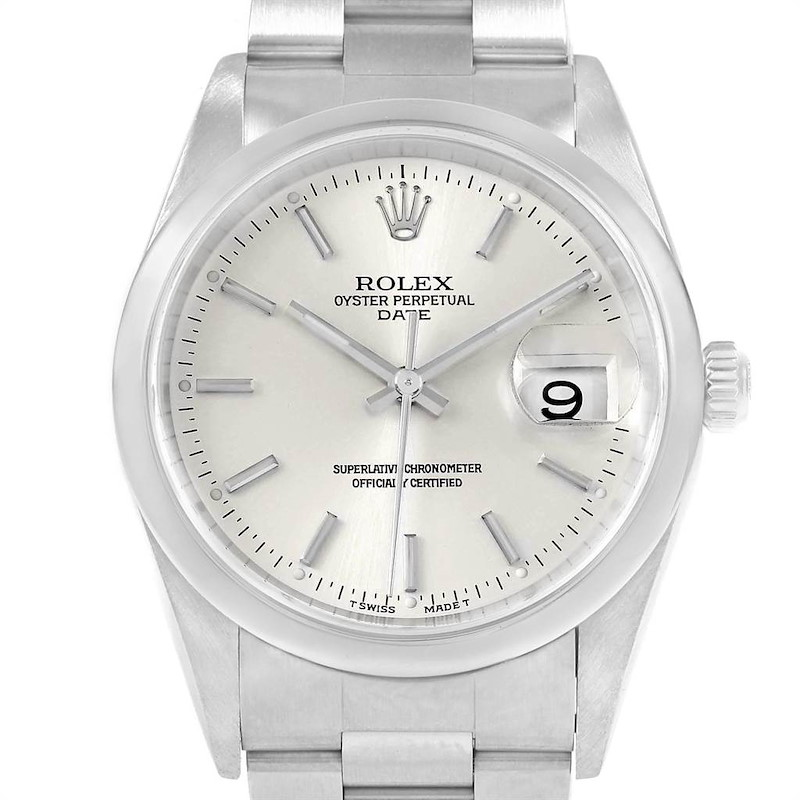 Rolex Date Silver Dial Steel Mens Watch 15200 Box Papers SwissWatchExpo