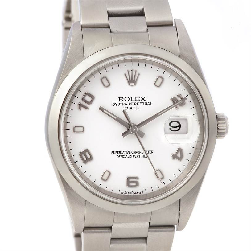 2291 Rolex Date Mens Ss White Roman Dial 15200 Year 2006 SwissWatchExpo