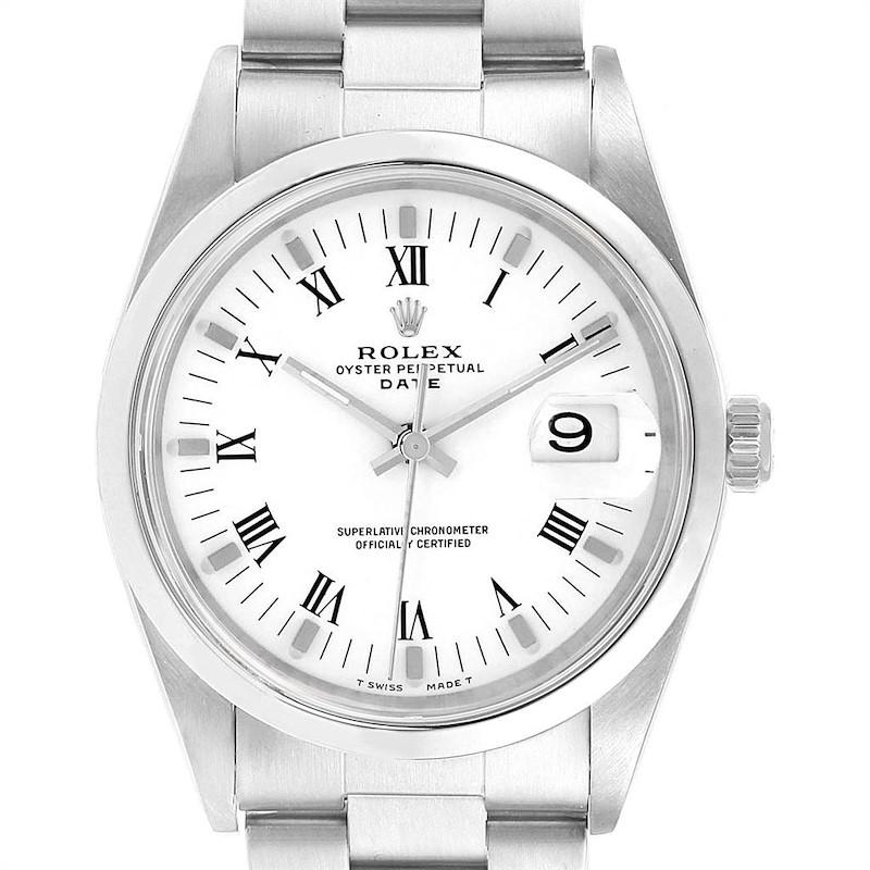 Rolex Date Smooth Bezel Oyster Bracelet Steel Mens Watch 15200 SwissWatchExpo