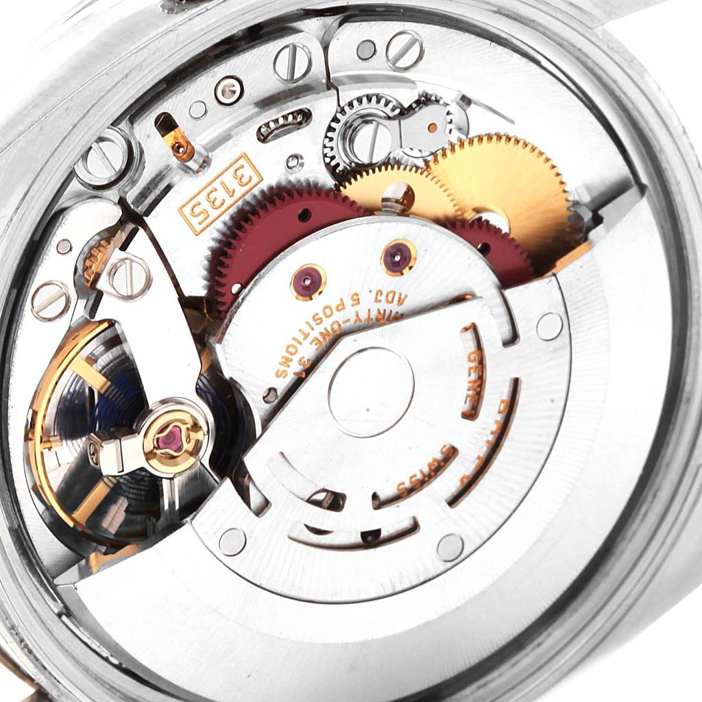 Rolex Date 34 Steel White Gold Black Diamond Dial Mens Watch 115234 SwissWatchExpo