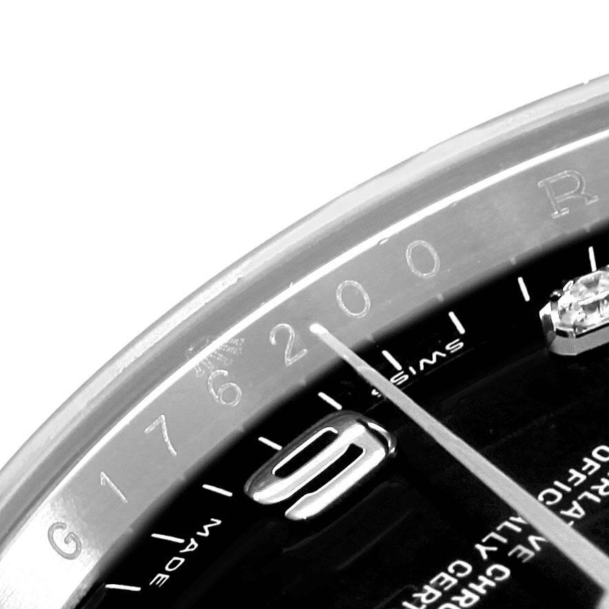 18405 Rolex Date 34 Steel White Gold Black Diamond Dial Mens Watch 115234 SwissWatchExpo