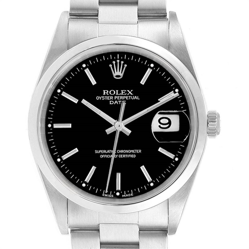 Rolex Date Black Dial Oyster Bracelet Mens Watch 15200 Box Papers SwissWatchExpo