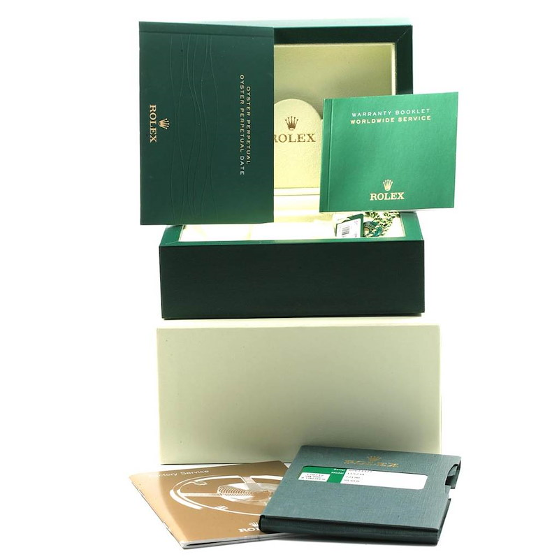 Rolex Date 34 Steel White Gold Silver Dial Mens Watch 115234 Box Papers SwissWatchExpo