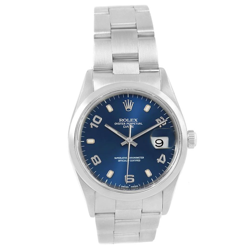 Rolex Date Blue Arabic Dial Steel Mens Watch 15200 Box SwissWatchExpo
