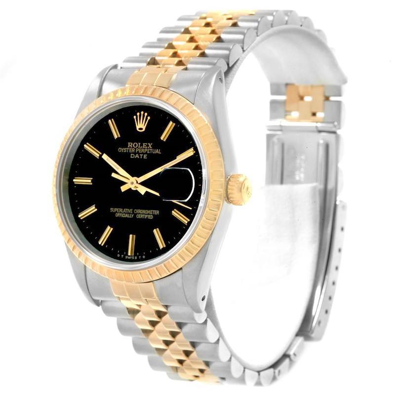 Rolex Date Steel 18k Yellow Gold Black Dial Mens Watch 15223 SwissWatchExpo